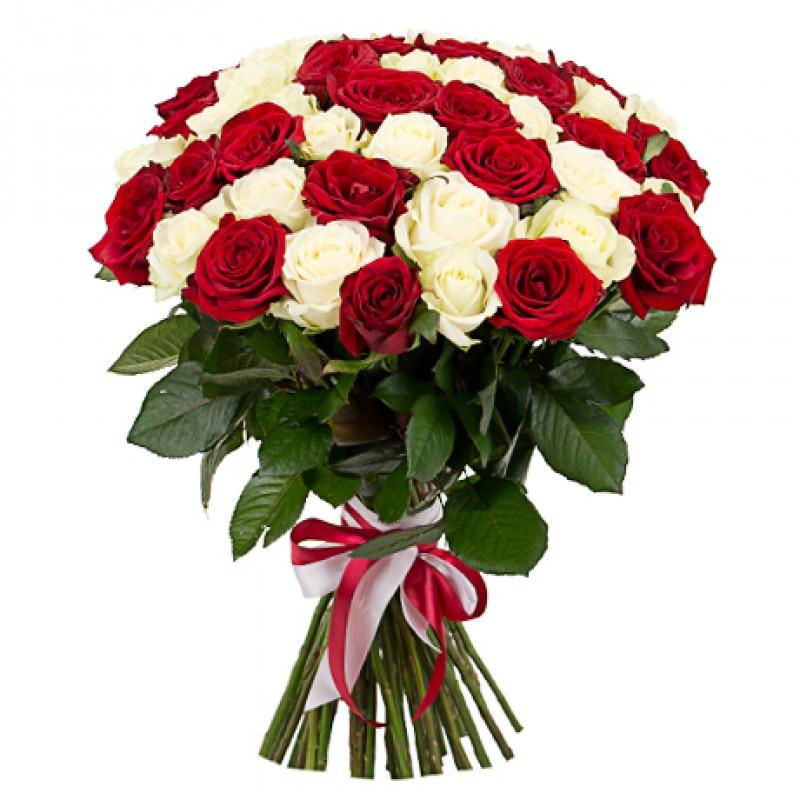 характеристики букет из красных и белых роз представлено
